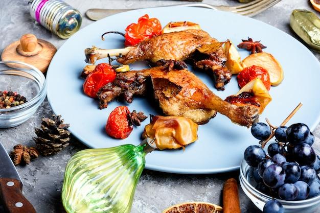 Christmas roast duck leg Premium Photo