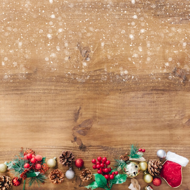 Christmas Rustic Background With Snow On Top Free Photo