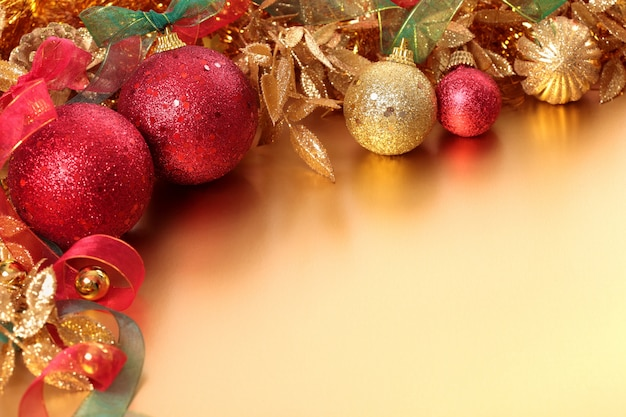 christmas scene with red and gold christmas ornaments free photo