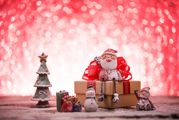 christmas scene with santa claus and snowman free photo