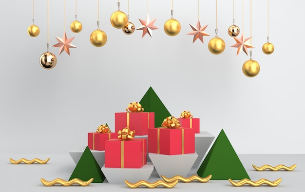 Christmas scene with tree gifts and shiny glass balls and toys Premium Photo