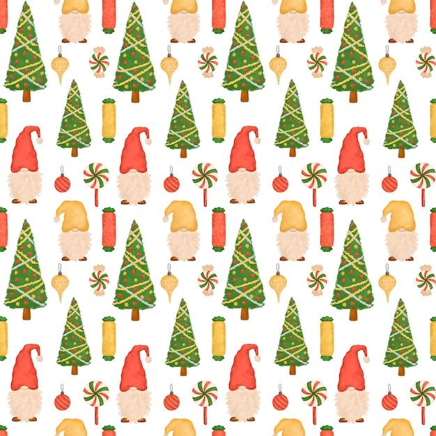 Рождественский фон, мультяшные милые гномы, леденцы, рождественская елка Premium Фотографии