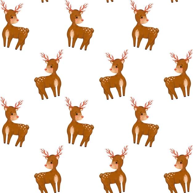 Christmas seamless pattern, forest deer cartoon digital paper, wild animals background, minimalist Premium Photo