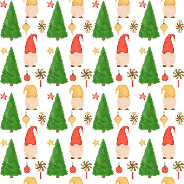 Рождественский фон, маленькие милые гномы, леденцы, елка, мультфильм Premium Фотографии