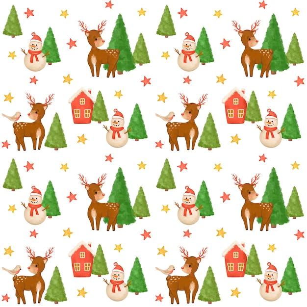 Christmas seamless pattern, snowman, deer digital paper, baby, kids design, xmas kids pattern Premium Photo