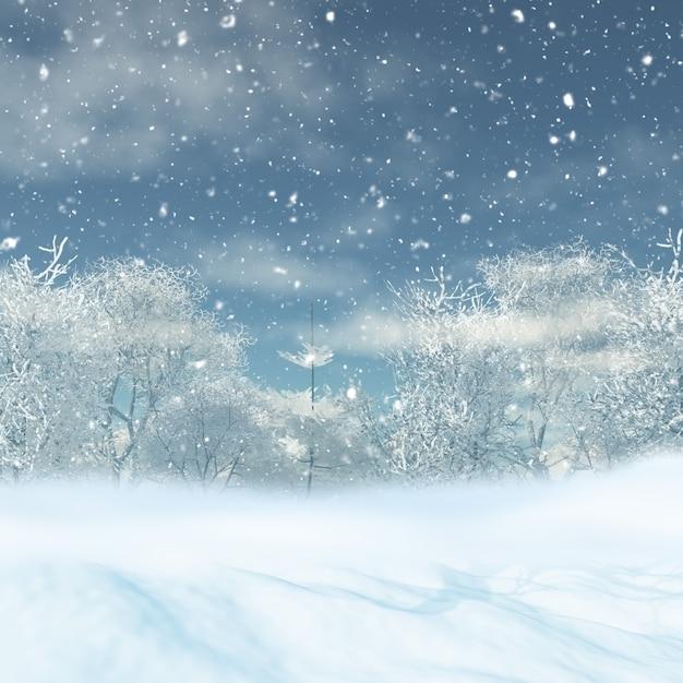 Christmas snowy landscape Free Photo