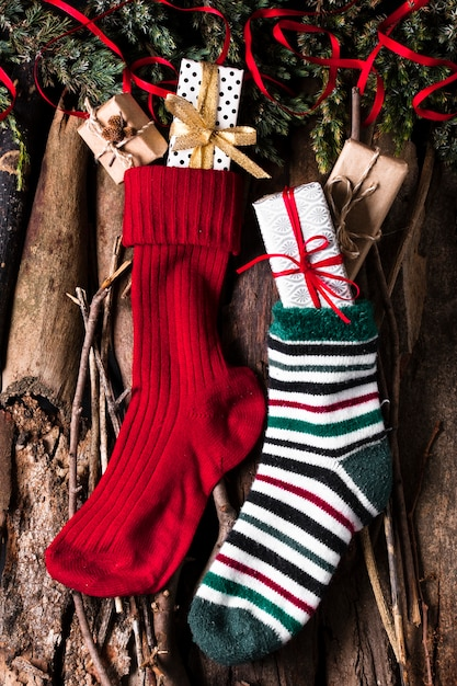 Christmas socks ready for gifts Free Photo