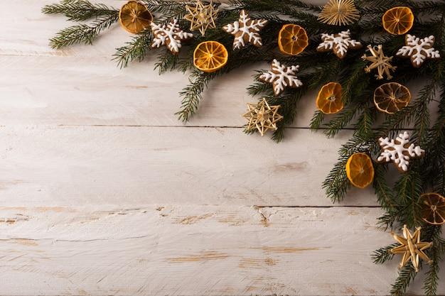 Christmas straw ornaments background Premium Photo