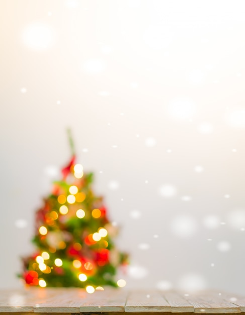 Christmas table background with decorations Free Photo