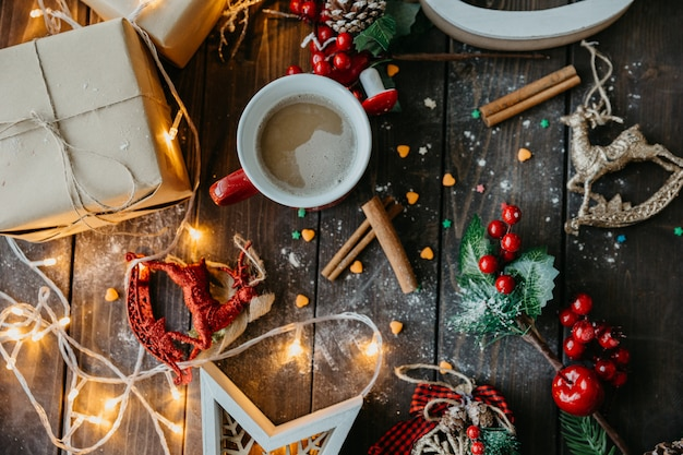 Christmas table with coffee top view Free Photo