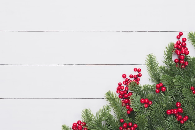 Christmas Top View.Christmas Top View Of Spruce Branches Red Berries On Wooden