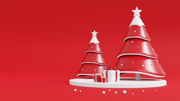 Рождественская елка и подарочная коробка на красном Premium Фотографии