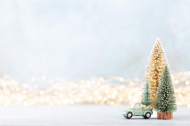 Christmas tree on bokeh background christmas holiday celebration concept. Premium Photo
