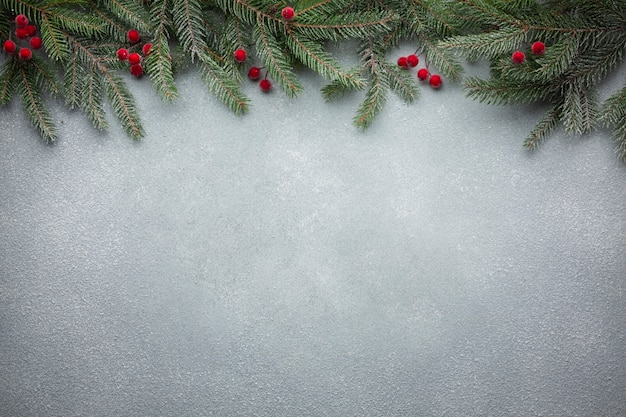 Christmas tree branch with copy space Free Photo