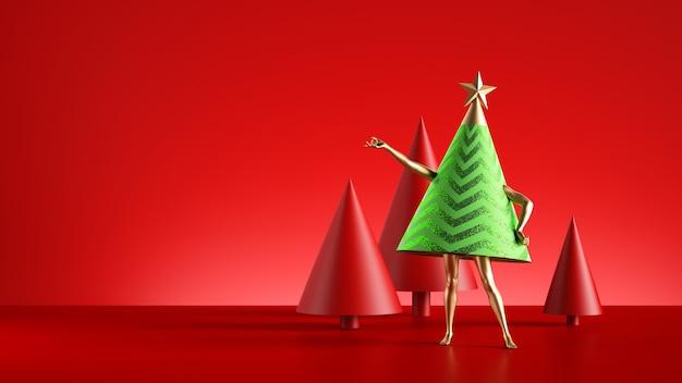 Christmas tree cartoon character with golden legs Premium Photo