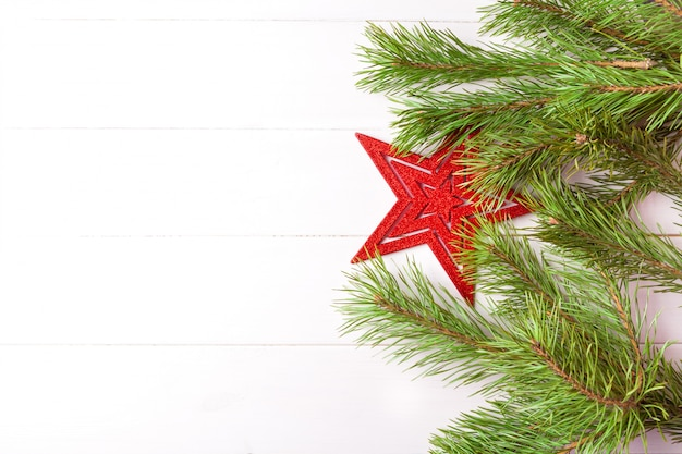 Christmas Tree Top View.Christmas Tree Decorated With Red Star And Fir Branches Top