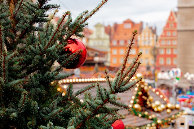 Christmas tree deocration, baubles on market in wroclaw, poland Premium Photo