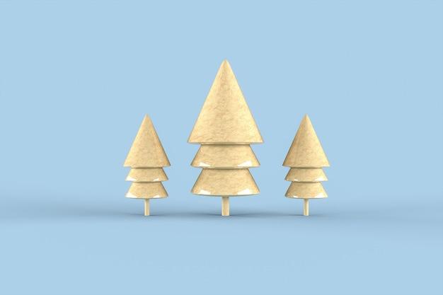 Christmas tree minimalist wallpaper . 3d rendering .  merry christmas concept Premium Photo