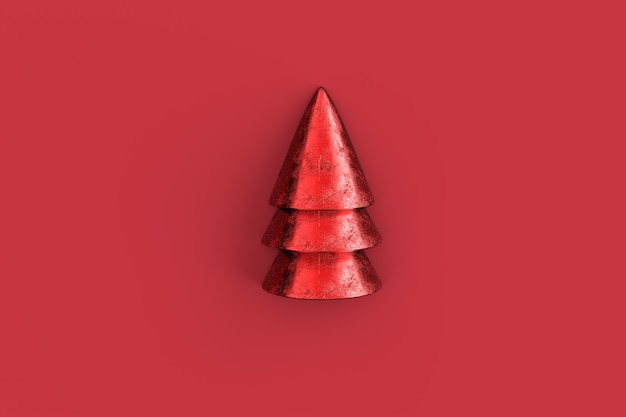 Christmas tree minimalist wallpaper . 3d rendering . Premium Photo
