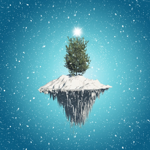 Christmas tree on floating island Free Photo