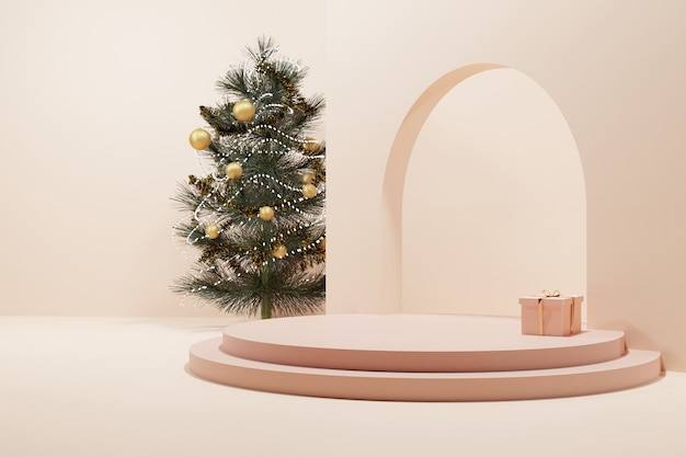 A christmas tree and a present with soft rose gold circle stage Premium Photo