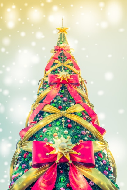 Christmas tree seen from below with huge ties Free Photo