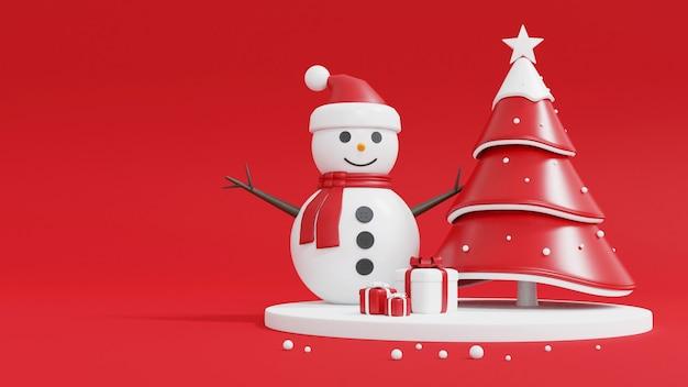 Рождественская елка, снеговик и подарочная коробка на красном Premium Фотографии