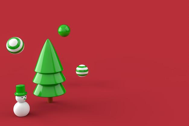 Christmas tree  and snowman minimalist wallpaper . 3d rendering . 3d illustration. merry christmas concept Premium Photo