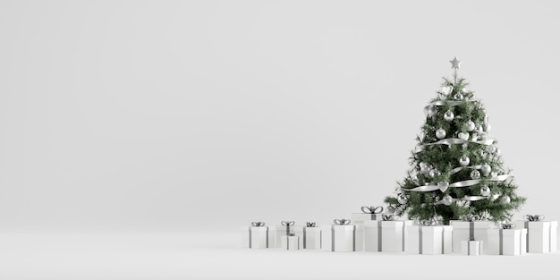 Christmas tree winter decoration with gift boxes in white background Premium Photo