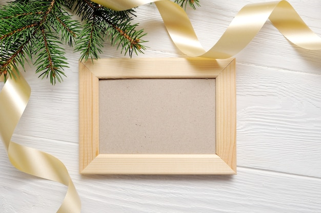 Christmas tree with frame and ribbon Premium Photo