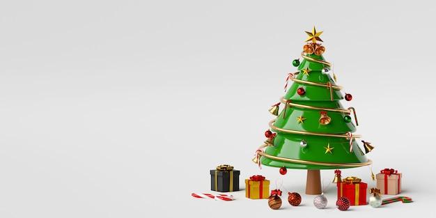 Рождественская елка с подарками и рождественскими украшениями 3d-рендеринга Premium Фотографии