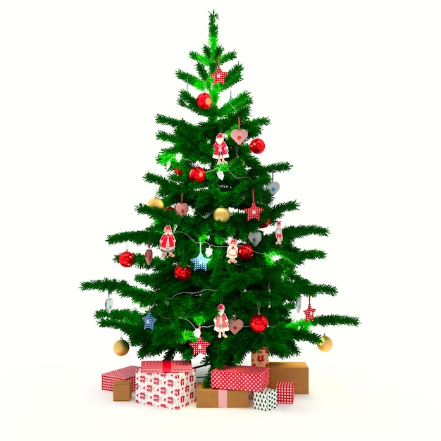Christmas tree with gifts Free Photo