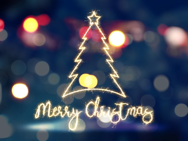 Christmas tree with lights Free Photo