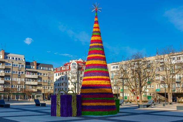 Christmas tree in wroclaw, poland Premium Photo