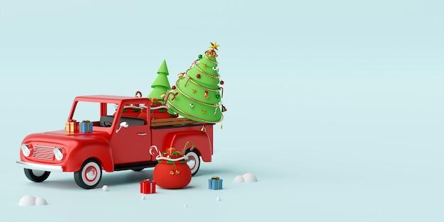 クリスマスプレゼントとツリーの3 dレンダリングの完全なクリスマストラック Premium写真