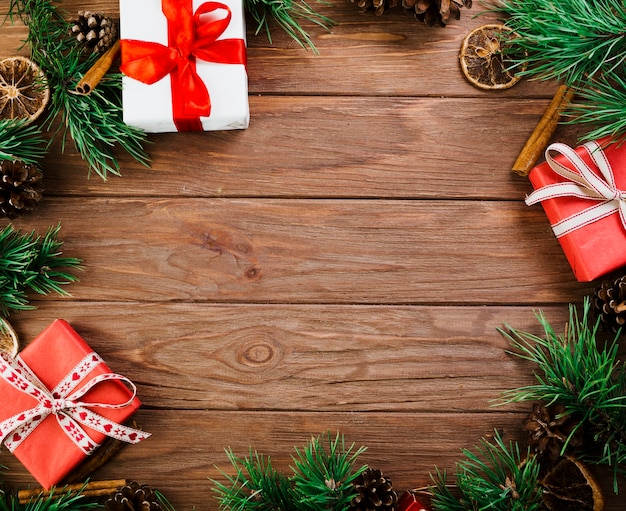 Christmas Board Design.Christmas Twigs And Boxes On Wooden Board Photo Free Download