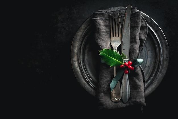 Christmas vintage rustic cutlery Free Photo