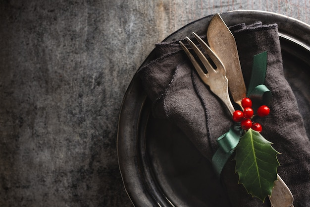 Christmas vintage rustic cutlery Free Photo