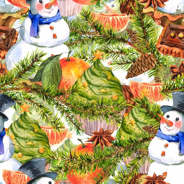 Christmas watercolor seamless background Premium Photo