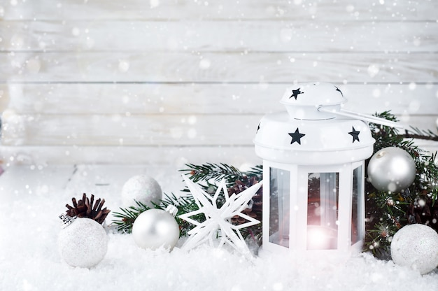 Christmas white lantern Premium Photo