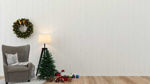 Christmas Wood Wall Floor Tree Template Background Decoration 3d