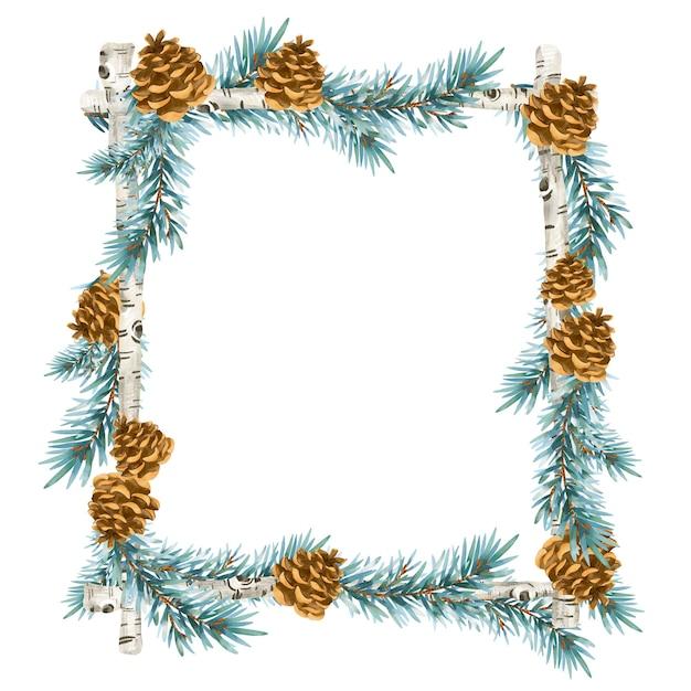 빈티지 스타일의 크리스마스 화환. 가문비 나무 분기 흰색 배경에 고립 된 휴일 프레임 프리미엄 사진