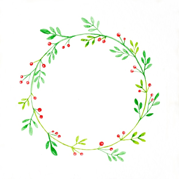 Christmas Wreath Drawing.Christmas Wreath Watercolor Drawing On White Paper