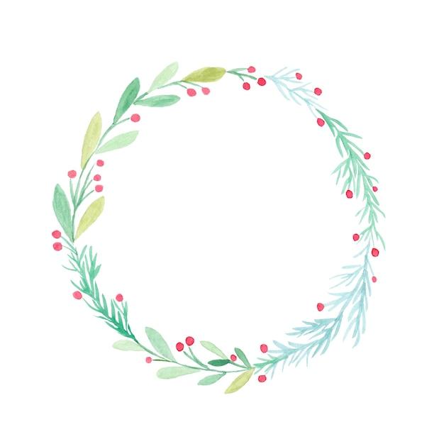 크리스마스 화 환 수채화 그림 흰색 절연 프리미엄 사진