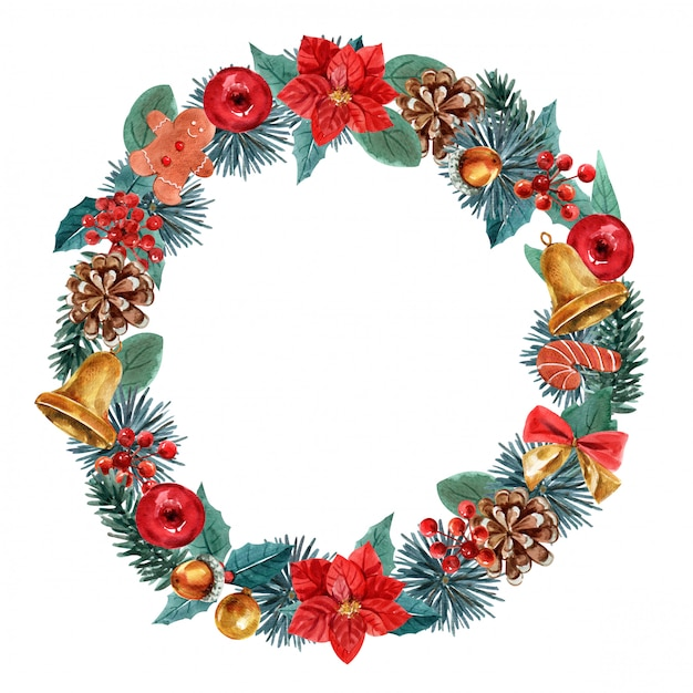 Christmas wreath on white background Premium Photo