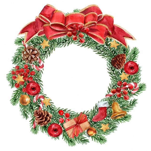 Christmas wreath on white background Premium Photo