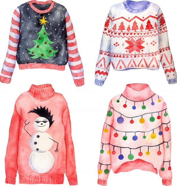 かわいい手描きのchristmasいクリスマスセーターの水彩セット Premium写真