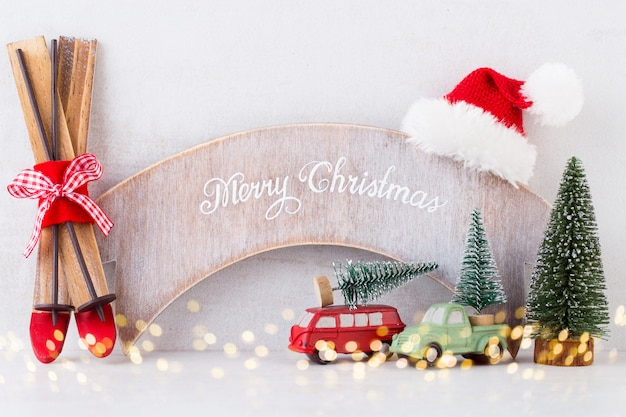 クリスマス。クリスマスカレンダー、灰色で12月24日。 Premium写真