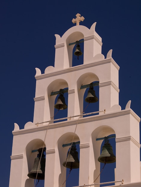 Church bell tower in santorini greece Premium Photo