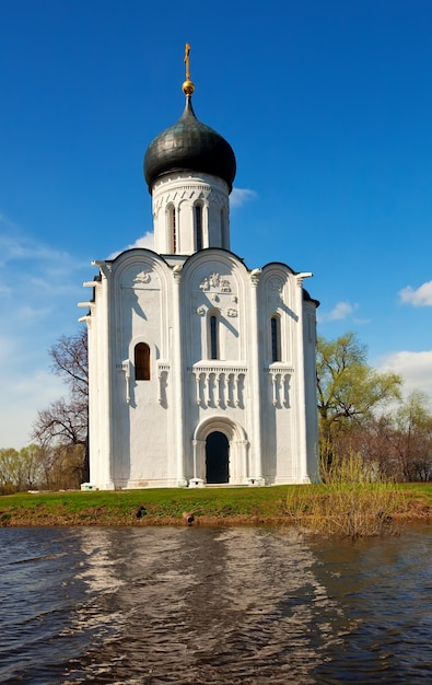 Church of  intercession on river nerl in flood Free Photo